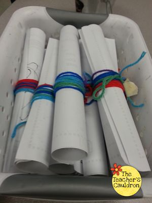 yarn is their height--wrap around journal page & place in time capsule container until end of year