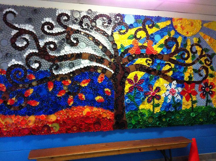 Bottlecap mural cole pinterest bottle for Ecole d art mural