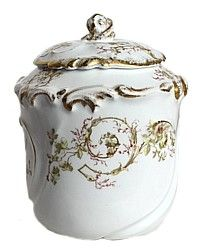 Antique French A. Lanternier Limoges Porcelain Biscuit Jar-rose, floral, gold, gilt, hand,green, yellow, brown, cookie,