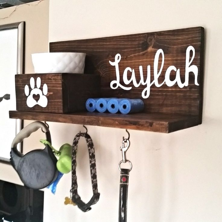 Dog Leash Holder, Dog Collar Holder, Custom Dog Leash Holder, Dog Leash Hanger, Dog Treat Holder, Dog Collar Sign, Personalized Dog Sign by KaysDekor on Etsy https://www.etsy.com/listing/290327519/dog-leash-holder-dog-collar-holder - Tap the pin for the most adorable pawtastic fur baby apparel! You'll love the dog clothes and cat clothes! <3