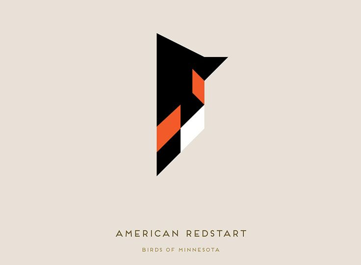 tony buckland creates minimalist portraits in birds of minnesota series, american redstart
