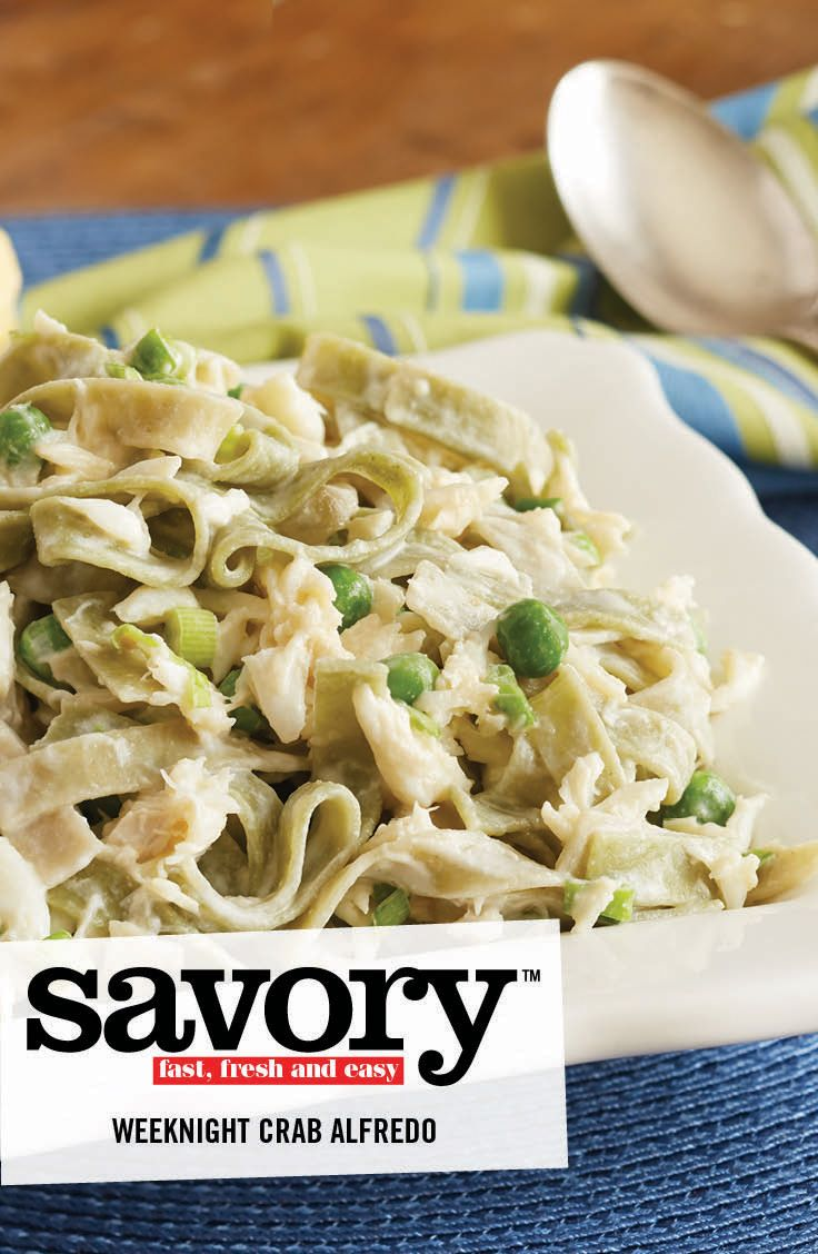 Enjoy this crabby take on Fettuccini Alfredo and Peas. Try our Recipe of the Week: Weeknight Crab Alfredo