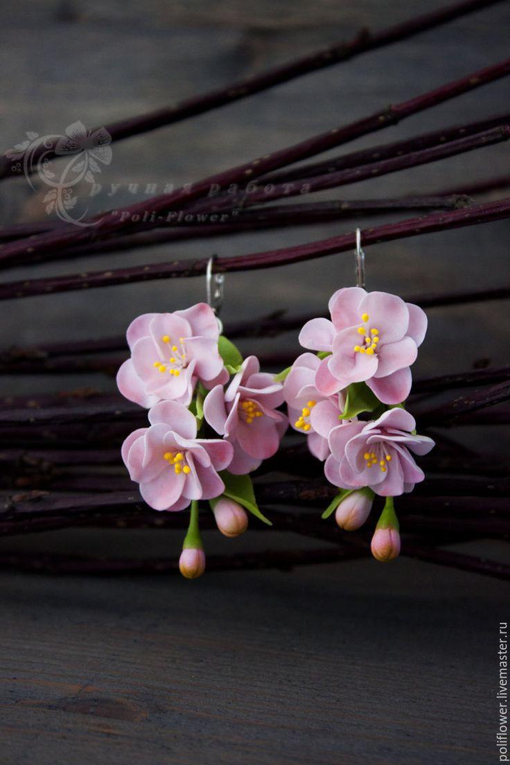 """Купить Серьги с сакурой """"Ssaggezza orientale"""". Флористическая глина. - розовый, зеленый, серьги ручной работы"""
