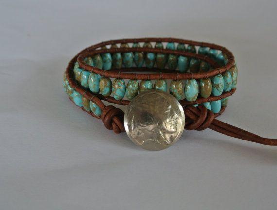 Boho Turqoise Leather Beaded Wrap Bracelet by justhipstuff on Etsy