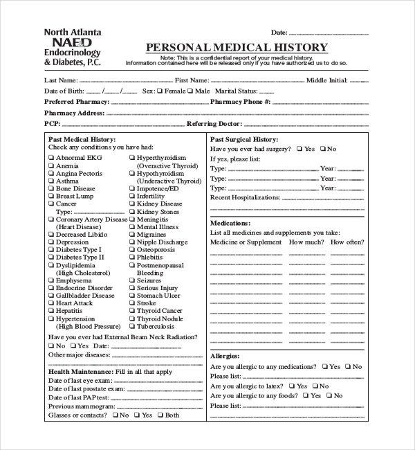 28 Patient Medical History Form Template In 2020 Health History