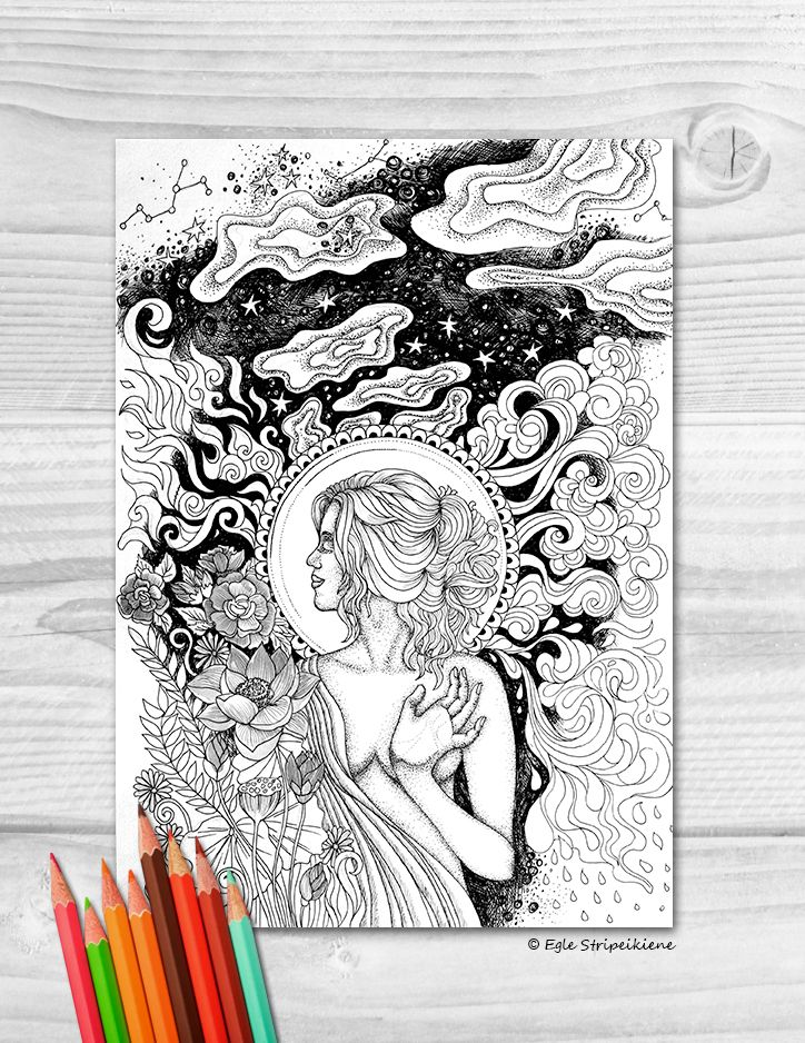 """Five Elements"" coloring page for adults by Egle Stripeikiene"