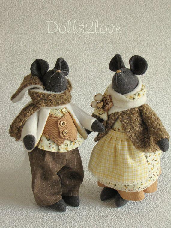Ratones de estilo Tilda par pedernal y Flossie por Dolls2love