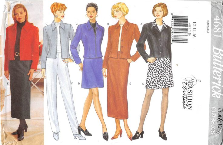 BUTTERICK 4681 - FROM 1996 - UNCUT - MISSES PETITE JACKET, SKIRT & TROUSERS