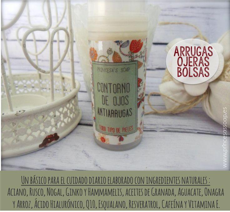CONTORNO DE OJOS 100% natural, con ACEITE DE GRANADA y muchos otros ingredientes maravillosos para combatir ARRUGAS, BOLSAS y OJERAS <3 www.princesassoap.es