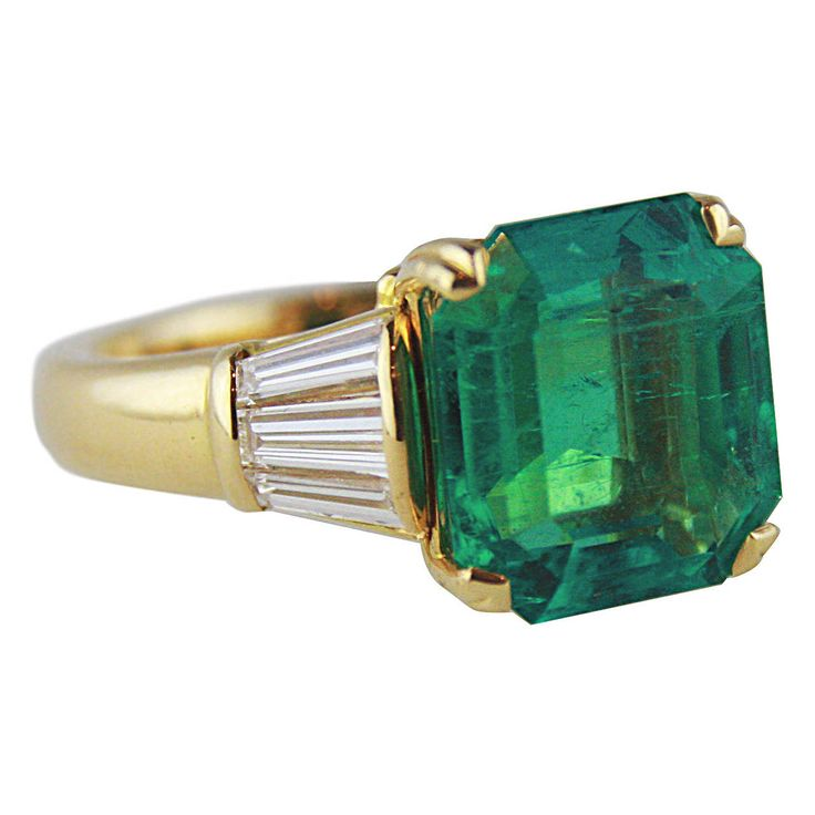 7.78 Carat Colombian Emerald Diamond Gold Ring | From a unique collection of vintage cocktail rings at https://www.1stdibs.com/jewelry/rings/cocktail-rings/
