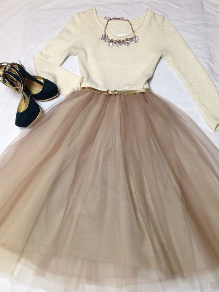 Latte and sand colored tulle dress paired with a gold belt, green and gold heels and rhinestone  necklace. Holiday outfit 2014.