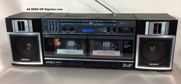 Vintage 1986 sony cfs w360 dual cassette stereo boombox old electronics am - Philips ghetto blaster ...