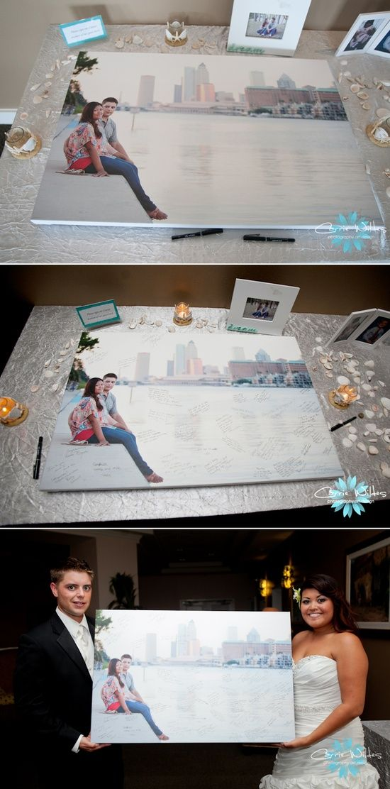 Unique Guestbook Idea! Have your wedding guests sign a canvas print of your engagement photo.