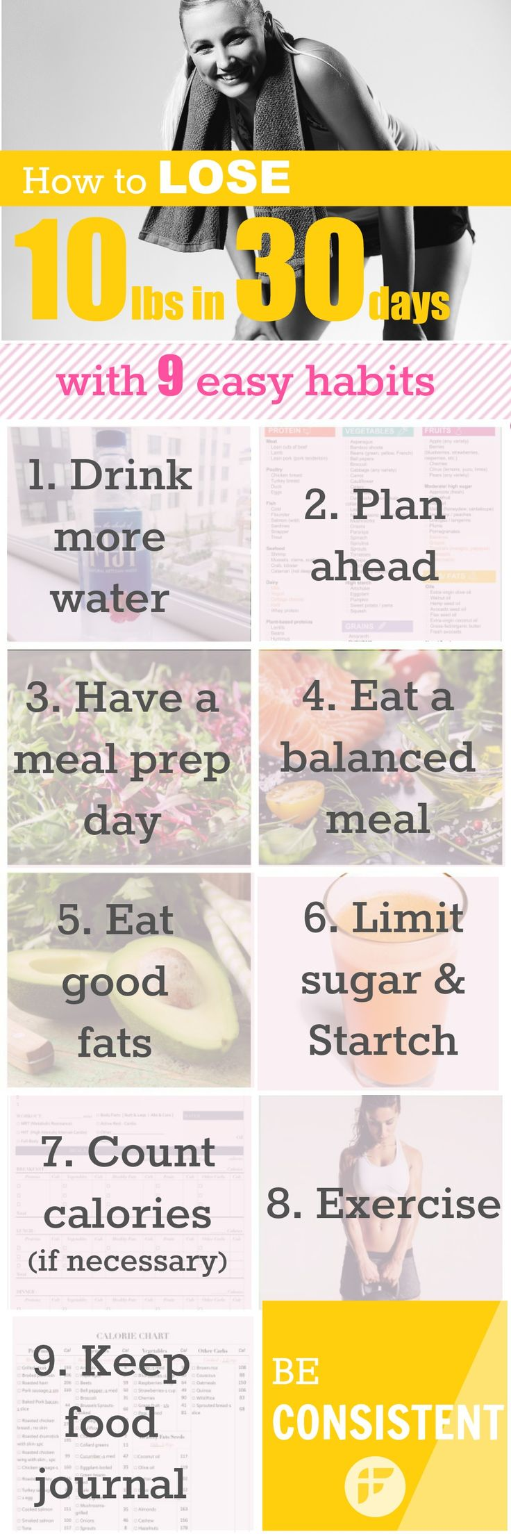 9 habits to lose 10 pounds in 30 days. Losing 10 pounds is actually easier than you think. #loseweight #weightloss