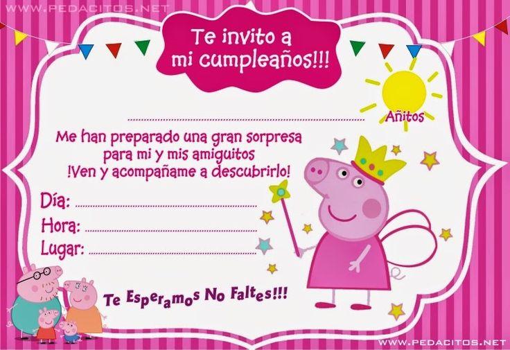 Generar invitacion de la Peppa Ping Gratis        Invitacion de la Peppa Pig para imprimir en word o power point, imprime tus tarjetas de i...