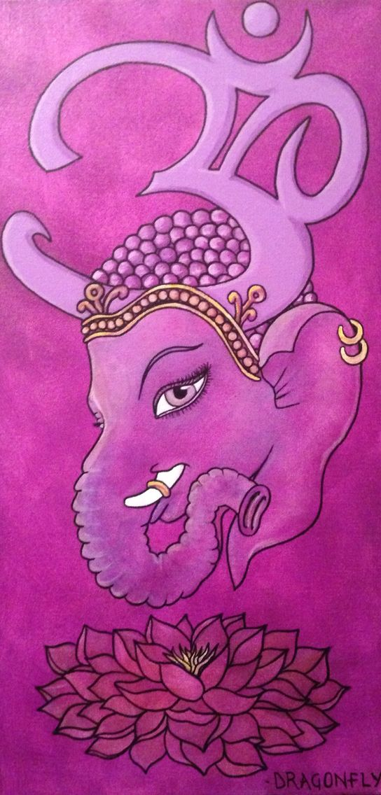 Ganesha tribute chakra paintings. I did one a day for 7 days. This is Painting #7 of 7- Sahasrara. The crown chakra represented by the colour violet and a lotus with 1000 petals.