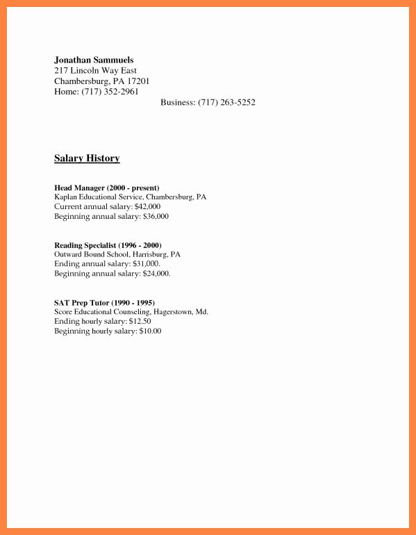 Salary Requirement Sample Letter New 5 Salary History Examples In 2020 Cover Letter For Resume Resume Cover Letter Examples Salary Requirements