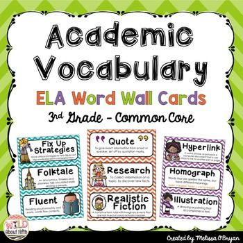 ELA Word Wall Vocabulary Cards - 3rd Grade - Chevron - Common Core Aligned - +180 words Download the preview for a sample of words included in the set.