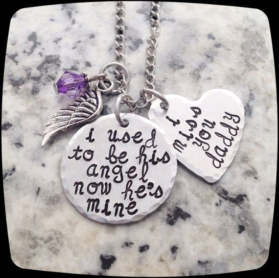 Sympathy Gift, I used to be his angel now he's mine,  Memorial Jewelry, Remembrance Necklace, Loss of Father, Funeral Gift