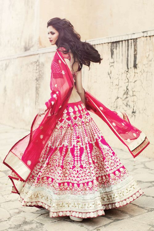 Indian Couture. Anita Dongre. Fashion. Clothing. Pink. Lehenga.
