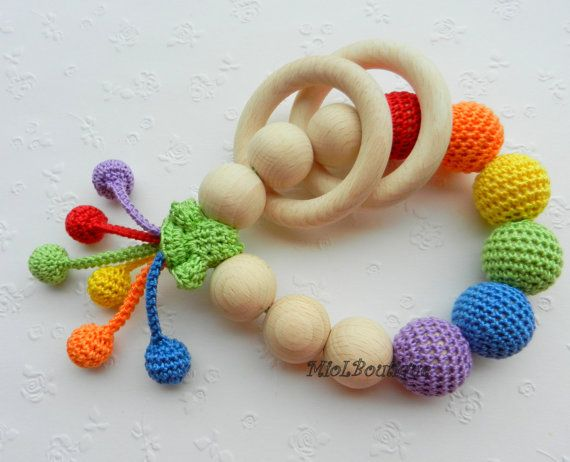 Baby teether Rainbow Baby Toy Rattle Crochet Wood by MioLBoutique, $20.00