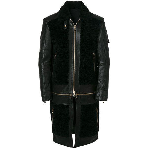 Balmain multipurpose panelled coat (€5.050) via Polyvore featuring men's fashion, men's clothing, men's outerwear, men's coats, black, mens fur collar coat und mens leather coats
