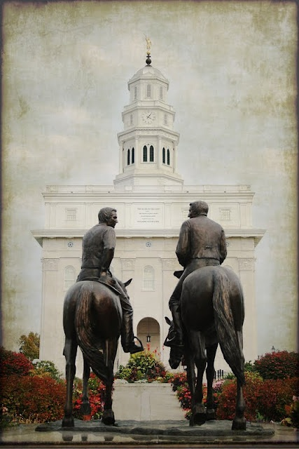 Statues of the Prophet Joseph Smith and his brother, Hyrum Smith on horseback memorializes their final trip from Nauvoo to Carthage, Illinois ~ where they were both murdered.  They didn't live to see the completion of the temple in Nauvoo, Illinois