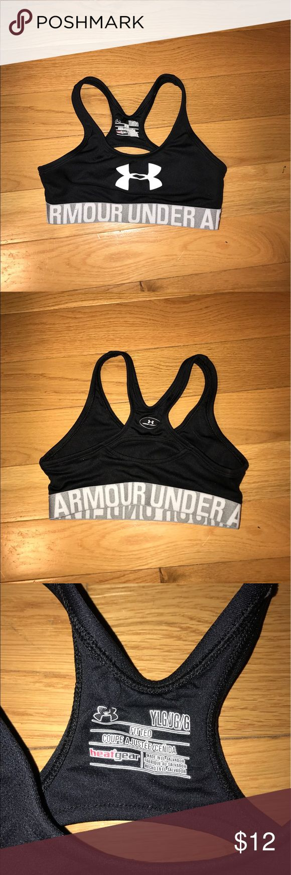 Girls Black Under Armour Sports Bra Black and grey under armour sports bra for kids! Never worn or washed, just tried on. Doesn't fit me! Under Armour Shirts & Tops Tank Tops