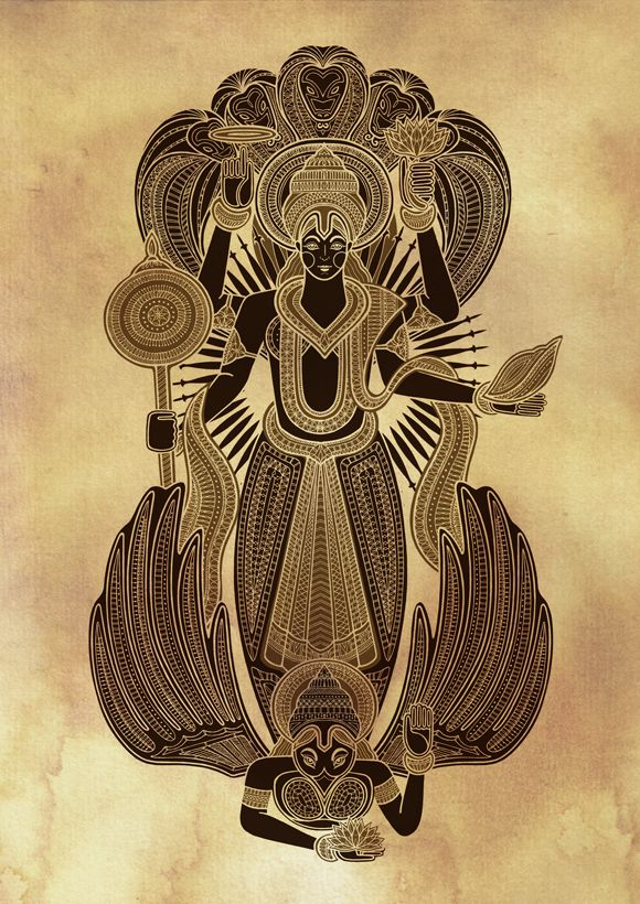 I just found these beautiful Hindu God Lord Vishnu silkscreen prints created by Poonam Mistry, Her style incorporates her love of pattern, worldwide culture and nature with a modern twist. Being brought up surrounded by Indian culture, fabrics, Indian artwork and ornaments have heavily influenced my work. Also folklore tales and stories of Hindu Gods and Goddesses have been a rich source of inspiration in a number of my illustrations.