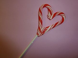 Valentine's sucker made from leftover candy canes.