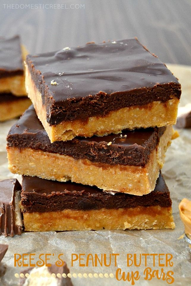 These REESE'S PEANUT BUTTER CUP BARS are heavenly homemade squares that taste JUST like deep-dish, ultra fudgy peanut butter cups. An easy, quick, and entirely no-bake dessert!