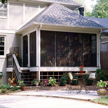 Real life porch additions porches screened porches and for Hip roof front porch addition