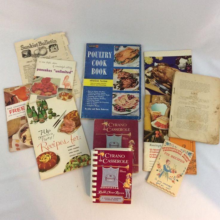 Vintage Cookbook Lot 1950's-60's 7-Up Poultry Pet Milk Aunt Jemina