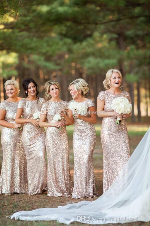 Sparkly Rose Gold Cheap 2015 Mermaid Bridesmaid Dresses Short Sleeve Sequins Backless Floor Length Beach Wedding Gown Light Gold Champagne Mismatched Bridesmaid Dresses Pale Pink Bridesmaid Dresses From Magicdress2011, $77.38| Dhgate.Com