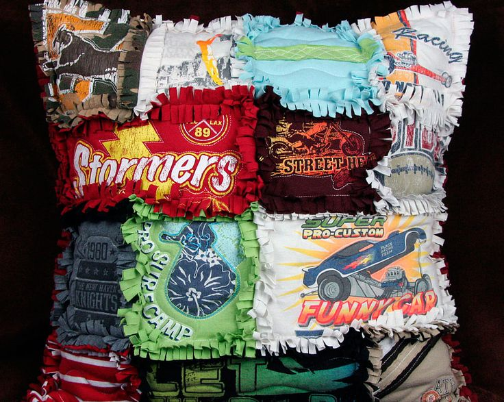 T-Shirt Rag Quilt Pillow~This is a neat way to keep some memories close and re-purpose old T-shirts.