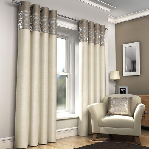 Skye Natural & Cream Lined Eyelet Curtains