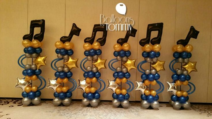 Music note balloon columns. This is a great option for music events! | Balloons by Tommy | #balloonsbytommy