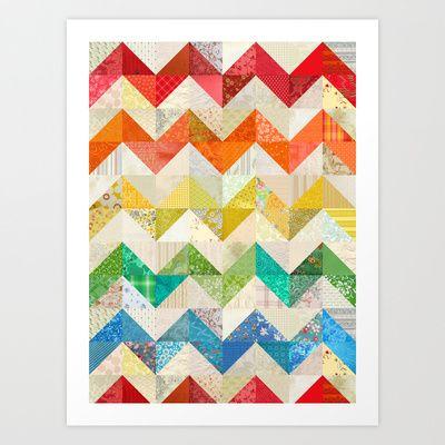 Chevron Rainbow Quilt Art Print by Rachel Caldwell - $19.00