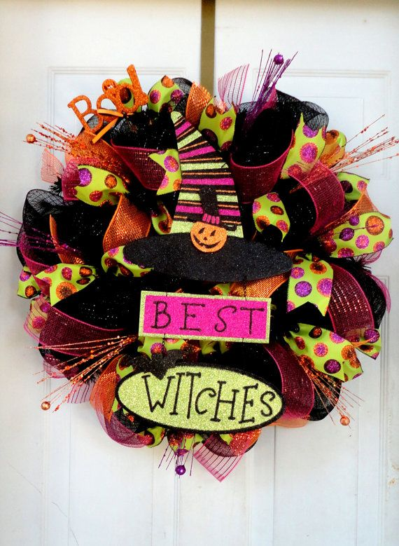 Best Witches Halloween Deco Mesh Wreath - Witch Wreath - Halloween Decor - Witch Leg and Witch Hat Wreath - Fall Deco Mesh