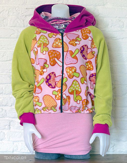 Psychedelic, tekno, goa jacket with shrooms, made by Teknicolor
