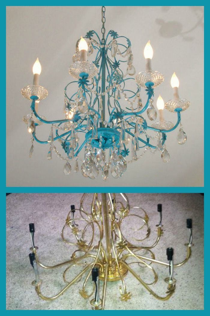 Turquoise blue chandelier redo