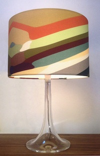 "Lamp shade -  cotton satin drum with hand rolled edge size 12 x 8""  Designed by Sarah Parris & Howard Wakefield. Made in Britain"