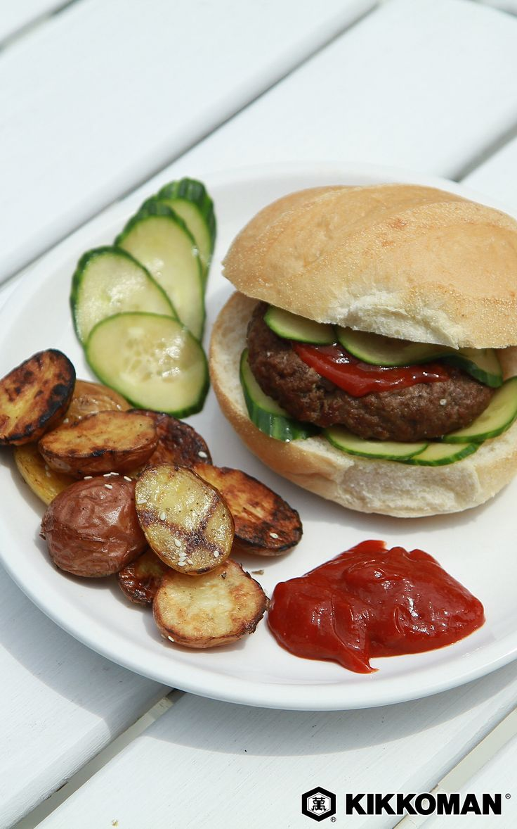 4 Ingredient Garlic Burgers   Simple homemade burgers! Start with ground beef, then add Kikkoman®️️️️️️️ Soy Sauce, garlic, and ground pepper. Mix it all up, form perfect patties, and toss them on the grill. Serve your burgers topped with Spicy Pickled Cucumber Slices and add a side of Grilled Sesame Garlic Potatoes.   Find all three recipes at KikkomanUSA.com.