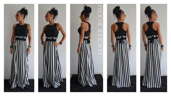 Jupe maxi / longueur de la jupe / noir et blanc jupe haute jupe taille haute / jupe d'été / jupe longue rayée / jupe en vrac