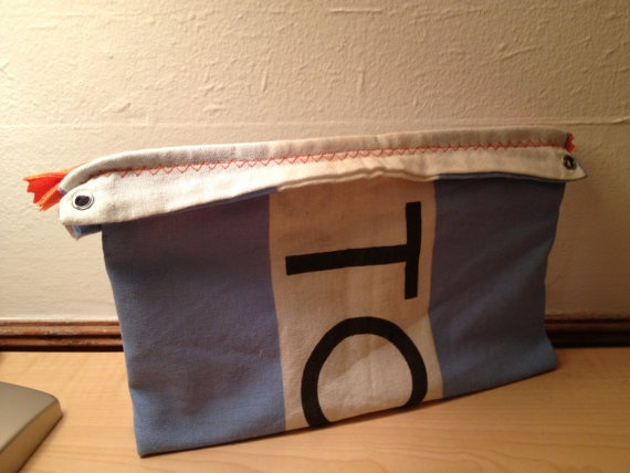 A new spin on the Toms Flag Pouch - Orange Zipper. $11.00, by me!