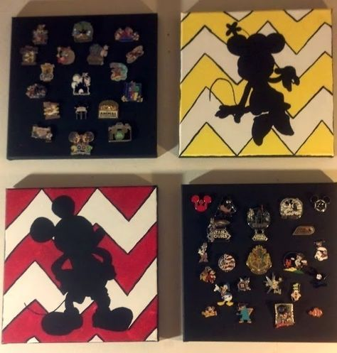 Use a canvas to display a Disney Pin Collection! Soooo smart!!!  Mickey and Minnie paintings found at: https://www.etsy.com/listing/153967177/mickey-mouse-silhouette-painting