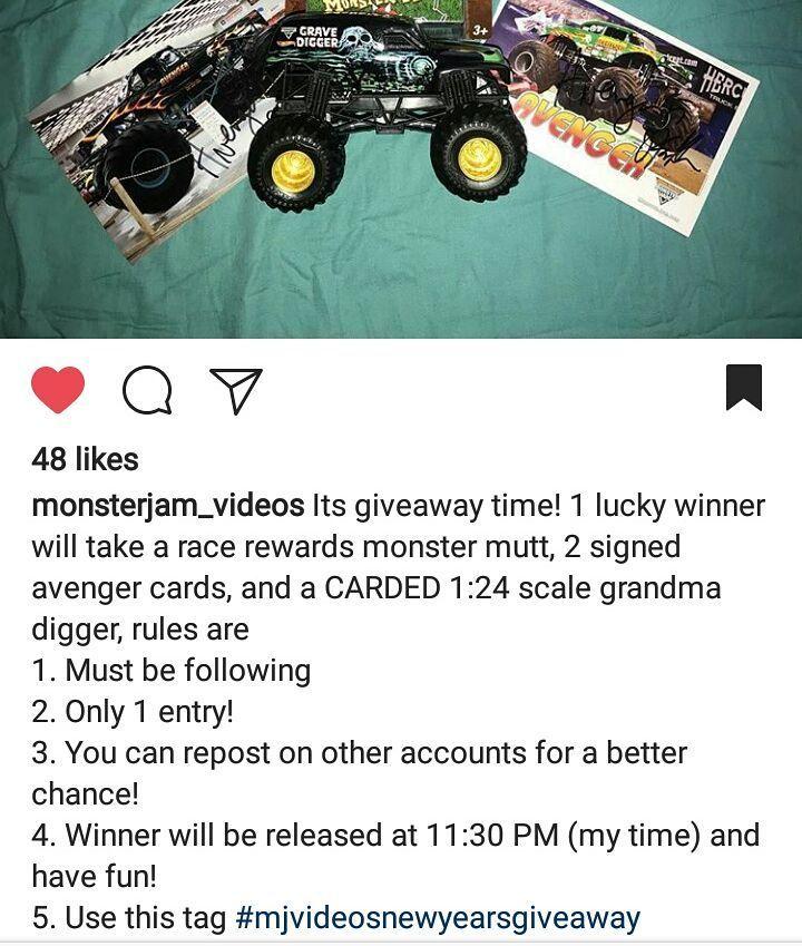 Hoping to win this contest! @monsterjam_videos Good luck to everyone entered! #mjvideosnewyeargiveaway  #monsterjam #nascar #f1 #drifting #racing #mechanic #art #legend #wraps #paint #schemes #Indianapolis #gravedigger #cars #trucks #mechanic #indi #wheelie #stunts #backflip #avengence #yeahhhhhhh #christmas