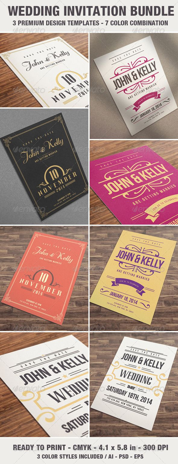 free wedding invitation psd%0A Elegant  u     Vintage Wedding Invitation   Card Bundle