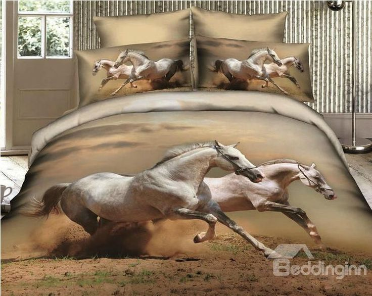 white Horses lifelike Print 4 Piece Bedding sets