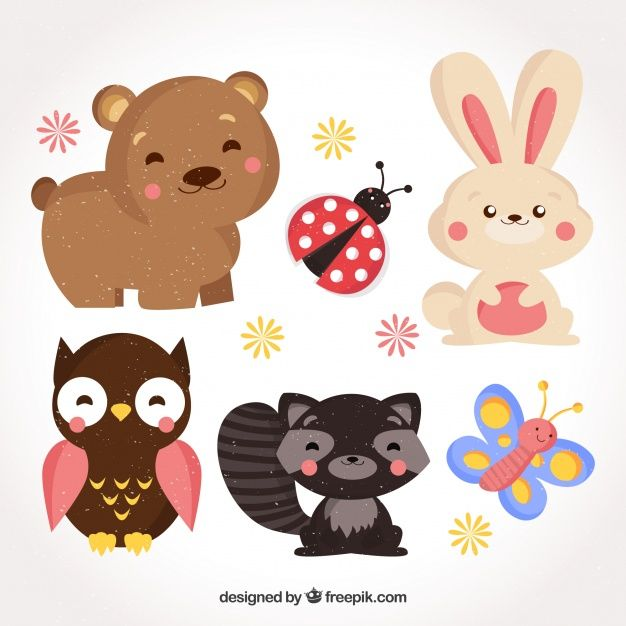 Fun set of smiley animals with flat design Free Vector